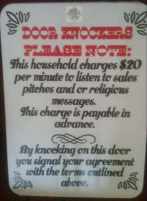 God botherers & Door knockers should pay to interrupt us | Open Parachute