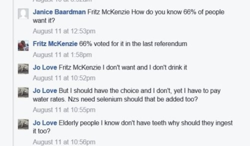 Forced fluoridation discussion on Facebook