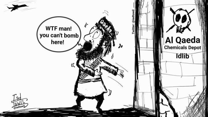 Afbeeldingsresultaat voor fake hospitals in idlib cartoon
